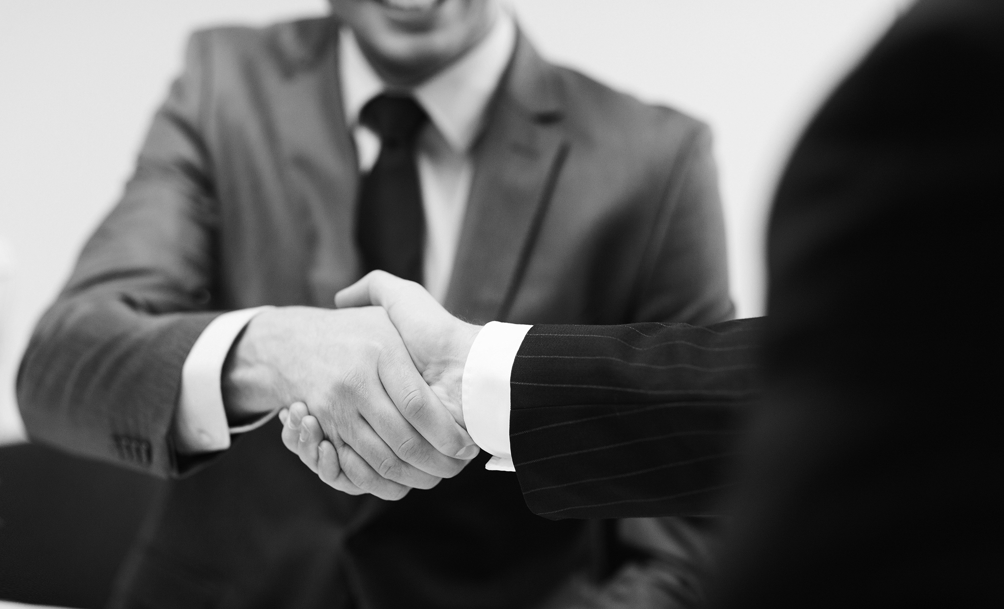 two businessmen shaking hands in office